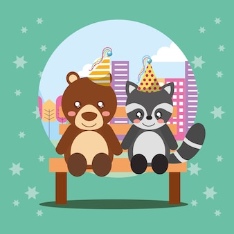 Cute raccoon and bear sitting in bench on city
