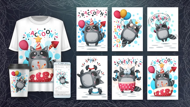 Cute raccoon card set and merchandising