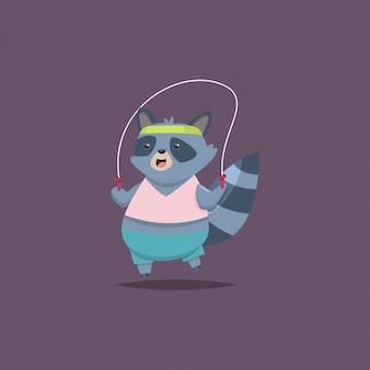 Милый мультипликационный персонаж енота делает упражнения на скакалке. фитнес и здоровый образ жизни. иллюстрация жира смешного животного, изолированных на фоне.