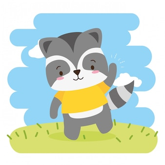 Cute raccoon cartoon, illustration