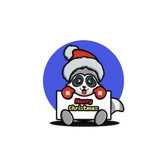 Cute raccoon celebrating christmas