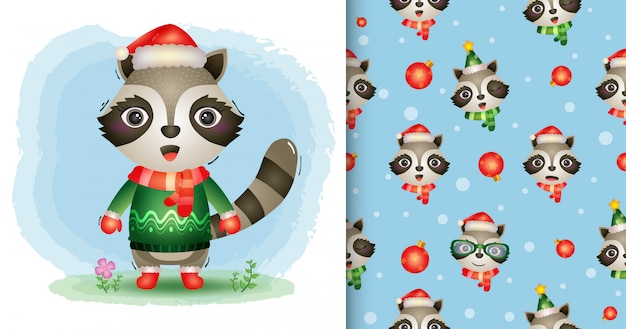 A cute raccoon christmas characters collection with a hat, jacket and scarf. seamless pattern and illustration designs