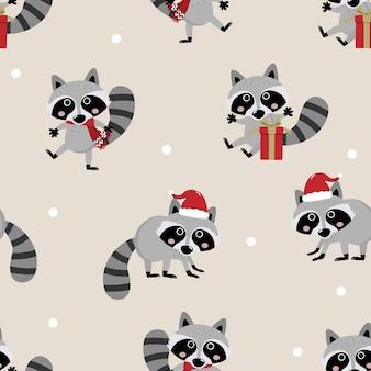 Cute raccoon in christmas seamless pattern