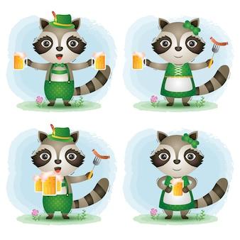 A cute raccoon couple with traditional oktoberfest dress
