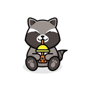보바 차를 마시는 귀여운 너구리