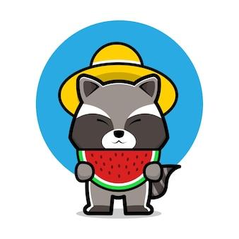 Cute raccoon eat watermelon cartoon illustration
