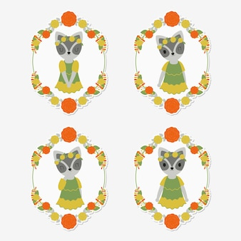 Cute raccoon on flower frames suitable for gift tag set
