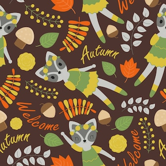 Cute raccoon and flowers pattern on brown background