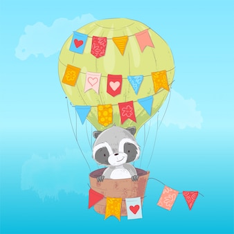 Cute raccoon flying in a balloon. cartoon style. vector