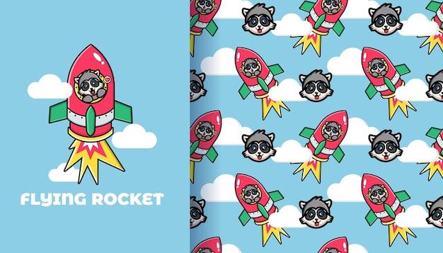 かわいいアライグマの飛行ロケットのシームレスなパターン