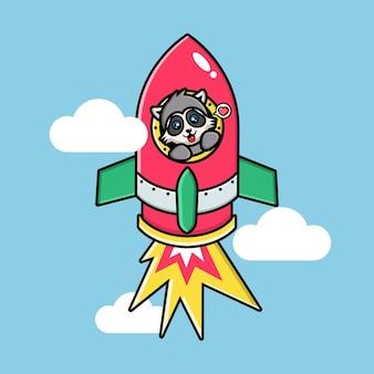 Cute raccoon on a flying rocket