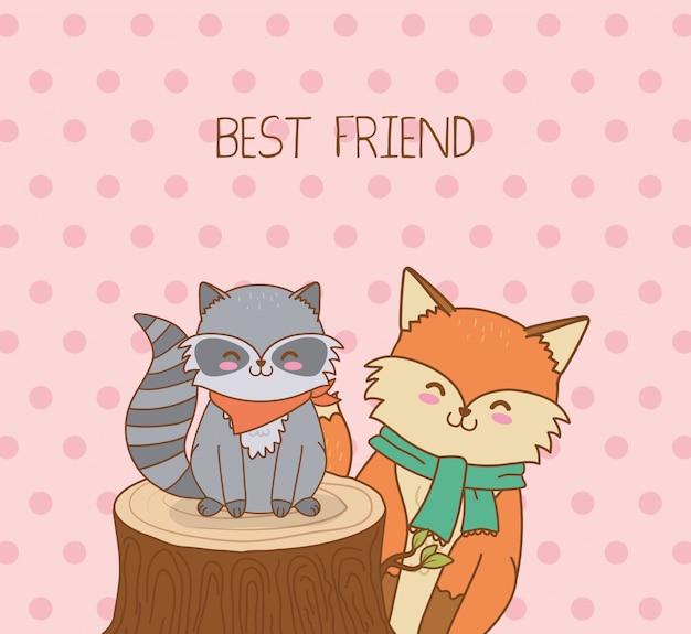 Cute raccoon and fox woodland characters