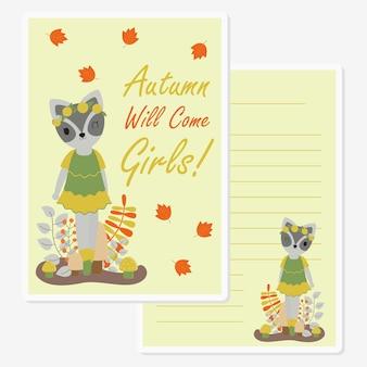 Cute raccoon girl under mapple leaves