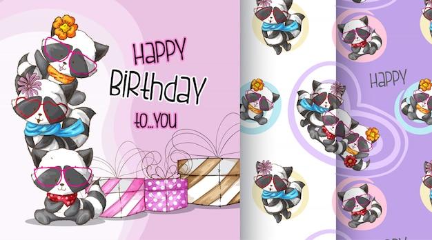 Cute raccoon happy birthday pattern illustration