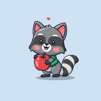 Милый енот держит красное яблоко