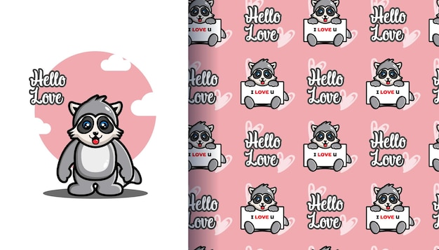 Cute raccoon holding a board i love you with seamless pattern