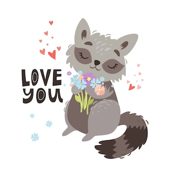 Cute raccoon illustration. love you
