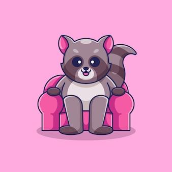 Милый енот сидит на диване мультяшный