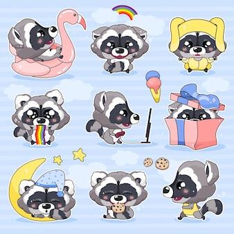 귀여운 너구리 귀여운 만화 캐릭터 세트. 사랑스럽고 재미있는 웃는 동물 격리 스티커, 패치 팩. 애니메이션 아기 너구리 자고, 쿠키 먹고, 파란색 배경에 이모티콘 실행