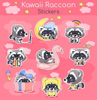 Cute raccoon kawaii cartoon characters set. adorable and funny smiling animal isolated stickers, patches, kids book illustrations pack. anime baby little raccoon emojis on pink background