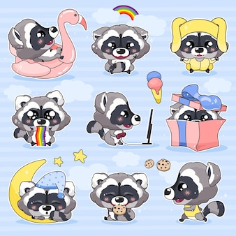 Cute raccoon kawaii cartoon characters set. adorable and funny smiling animal isolated stickers, patches pack. anime baby raccoon sleeping, eating cookies, running emojis on blue background