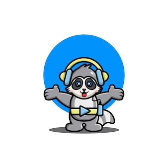 헤드폰 만화 캐릭터와 함께 귀여운 너구리 듣는 음악