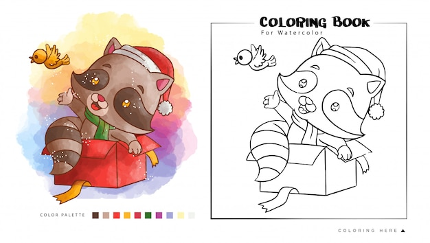 Cute raccoon play with bird, cartoon illustration for watercolor coloring book