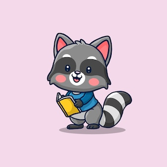 책 만화를 읽고 귀여운 너구리