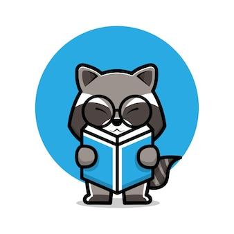 Cute raccoon reading book cartoon illustration