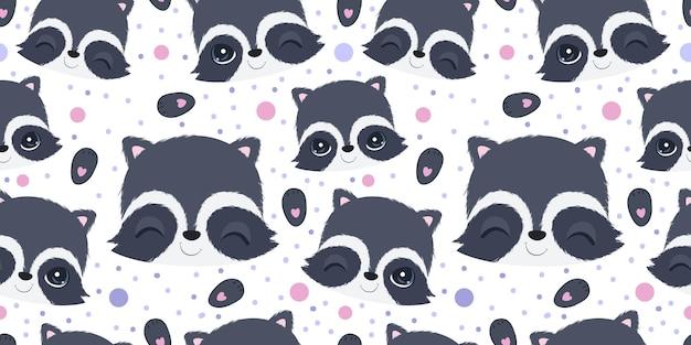 어린이 패브릭 벽지 등을 위한 귀여운 너구리 원활한 패턴