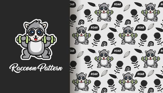 Cute raccoon seamless pattern