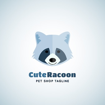 Cute raccoon  sign emblem or logo template. funny racoon face in flat style concept with modern typography.