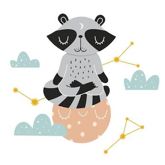 蓮華座で月に座っているかわいいアライグマアライグマはベクトル図を瞑想します