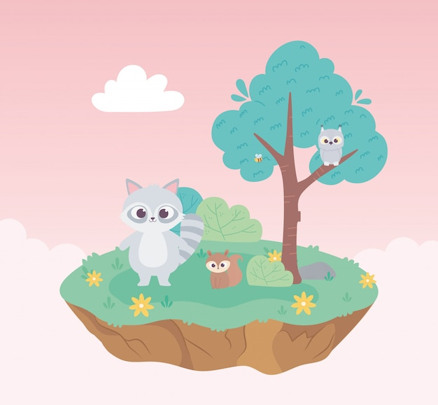 Cute raccoon squirrel and owl animals cartoon standing meadow tree and flowers nature