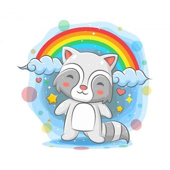 虹の背景に立っているかわいいアライグマ