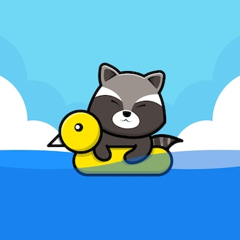 Cute raccoon swimming with swim ring illustration