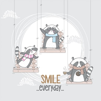Cute raccoon on the swing