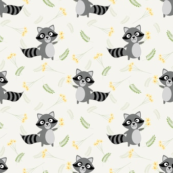 Cute raccoon and tiny flower seamless pattern.