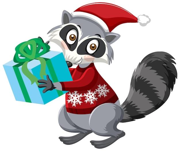 クリスマスの帽子の漫画のキャラクターを身に着けているかわいいアライグマ