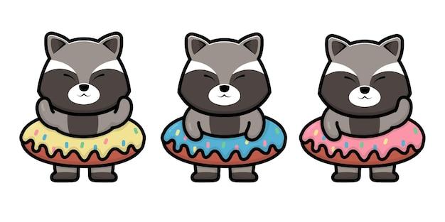 Cute raccoon with doughnut