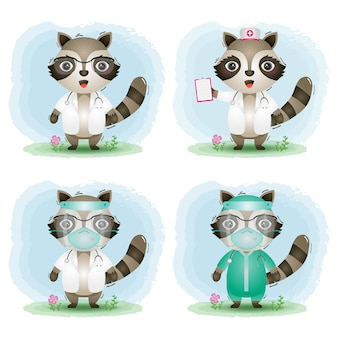 Cute raccoon with medical staff team doctor and nurse costume collection