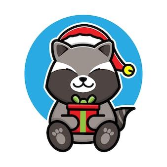 Cute raccoon with santa hat cartoon vector christmas concept illustration