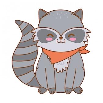 Cute raccoon woodland character