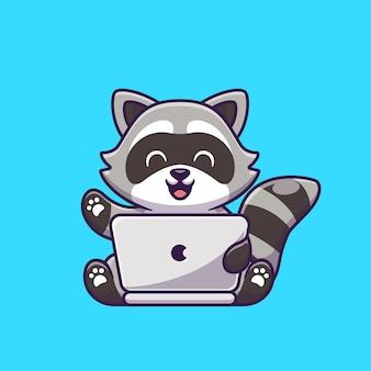 ノートパソコンの漫画のアイコンイラストに取り組んでいるかわいいアライグマ。分離された動物技術アイコンの概念。フラット漫画スタイル