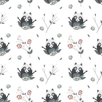 Cute raccoons, vector seamless pattern