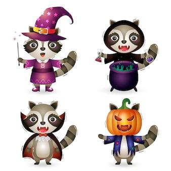 Симпатичные еноты в костюмах коллекции персонажей хэллоуина