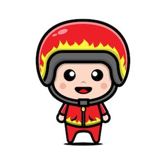 Cute racer boy wearing helmet and jacket cartoon illustration