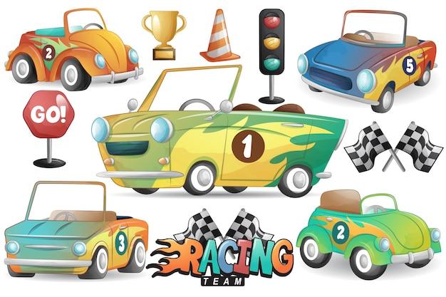 Симпатичный гоночный автомобиль с набором акварельных иллюстраций