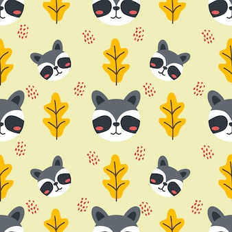 Cute racoon animal vector seamless pattern background