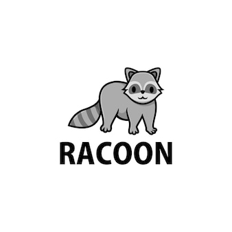 Симпатичный енот мультфильм логотип значок иллюстрации